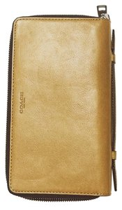 Coach Leather Double Zip Travel Business Organizer Wallet
