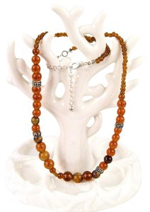 Other Cognac Tiger's Eye Beaded Lobster Clasp Necklace