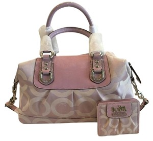Coach Satchel in Fabric/ patent & leather trim