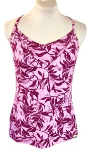 The North Face Pink Leaf Print Crossback Yoga Tank Top
