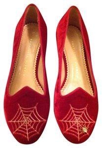Charlotte Olympia Size 37 Made In Italy WINE RED Flats