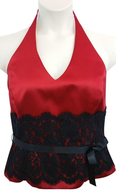 Preload https://img-static.tradesy.com/item/20068267/xscape-black-lace-trim-halter-red-satin-evening-cocktail-blouse-size-14-l-0-2-650-650.jpg