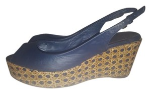 Tory Burch Wedge Navy Blue Leather & Tan Weave Wedges