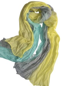 New Yellow Gray Blue Chiffon Scarf Long P2287