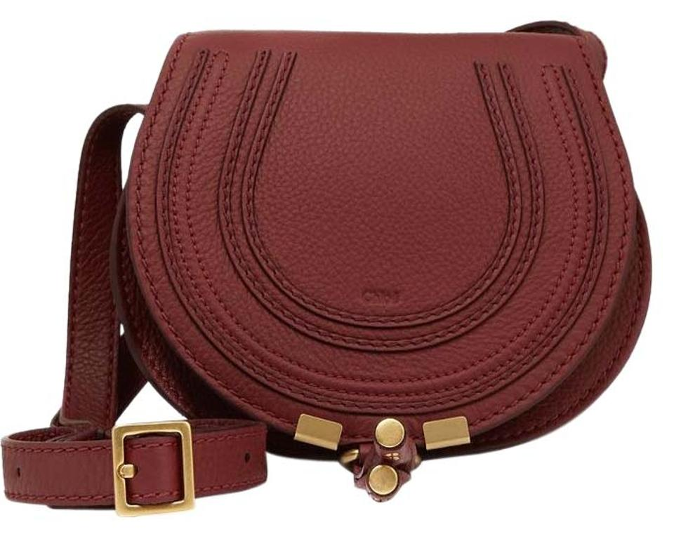 394f273ccd0 Chloé Marcie New Mini Saddle Burgundy Calf Leather Cross Body Bag ...