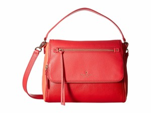 Kate Spade Cedar Street Small Hayden Red White Satchel in crab red/coral sunset/parrot feather