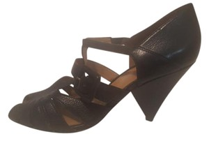 KG Kurt Geiger Retro Peep Toe Leather 50s Black Wedges