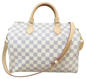 Louis Vuitton Tote Lv Like New Speedy Satchel in white