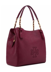 Tory Burch Leather Tote in Dark Merlot