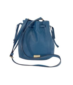 Kate Spade Blue Plebbled Leather Bucket Shoulder Bag