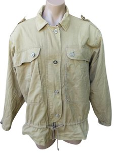 Nordstrom Vintage 1980s Military Inspired Cotton Size Large Tan Jacket