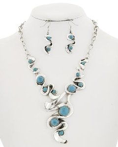Other Silver Tone Turquoise Stone Necklace & Earring Set