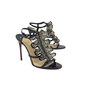 Christian Louboutin Black Patent Leather Ruffle Sandals