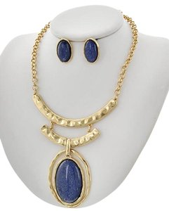 Blue Acrylic Necklace & Earring Set