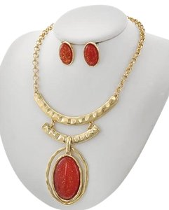 Other Red Acrylic Necklace & Earring Set