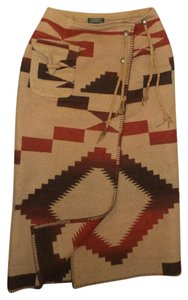 Ralph Lauren Country Navajo Wrap Indian Blanket Maxi Skirt Tan