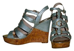 Guess Gray and Metallic Gold Wedges