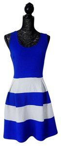 F2F short dress Blue/White Color Block Plus Size on Tradesy