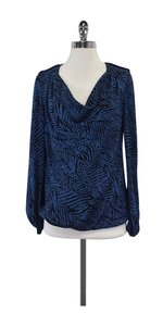 Tory Burch Blue Black Zebra Print Silk Top