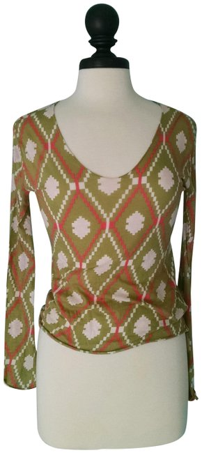 Item - Green Multi Color Long Sleeve Blouse Size 6 (S)