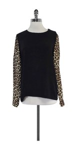 Equipment Black Leopard Print Sleeves Silk Sweatshirt