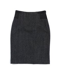Theory Grey Black Leather Wool Skirt