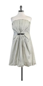 Miu Miu short dress White & Navy Pinstripe Cotton Strapless on Tradesy