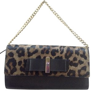 Kate Spade Milou Parchment Drive Haircalf Clutch Wallet Bag Purse Leopard