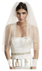 David's Bridal White Medium Simple with Rhinestone Accenting Bridal Veil