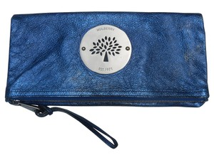 Mulberry Metallic Blue Clutch