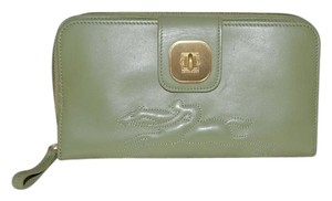 Longchamp LONGCHAMP Leather Zip Around Clutch Wallet Organizer Palm Green