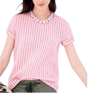 J.Crew Shadow Stripes Top Blossom Pink