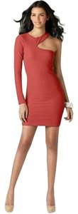 BCBGeneration Textured Shift Sheath Cut-out Dress
