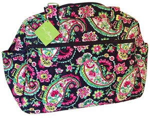 Vera Bradley Cotton Floral Flowershower Teal petal paisley Diaper Bag