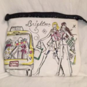 Brighton Large Zip Top Canvas Hand Painted W/Protective Lining Cosmetic Pouch