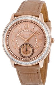 Michael Kors Madelyn Rose Gold PVD Beige Leather Ladies Watchnude, Rose gold