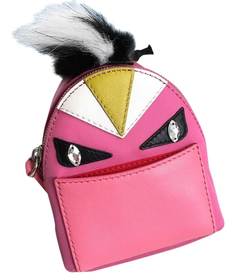 5d1237ad48ff Fendi Pink Bag Bug Monster Micro Backpack Key Chain Bag Charm Coin Purse