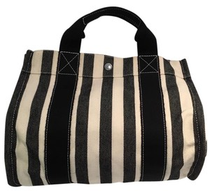 Hermès Black & White Cannes Cotton Canvas Tote in Black/ White