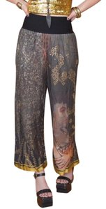 Jean-Paul Gaultier Wide Leg Pants Black & Gold