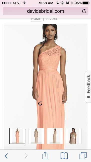 Item - Bellini - Peach Lace 52% Nylon/48% Rayon. Mesh Polyester. F17063 One Shoulder Formal Bridesmaid/Mob Dress Size 10 (M)