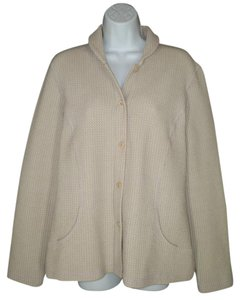 Eileen Fisher Waffle Textured Beige Viscose Jacket