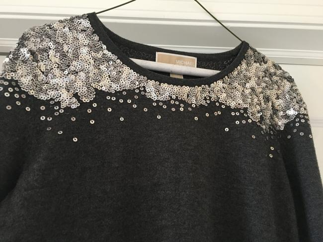 Michael Kors Silver Sequins Holiday Sweater Image 1
