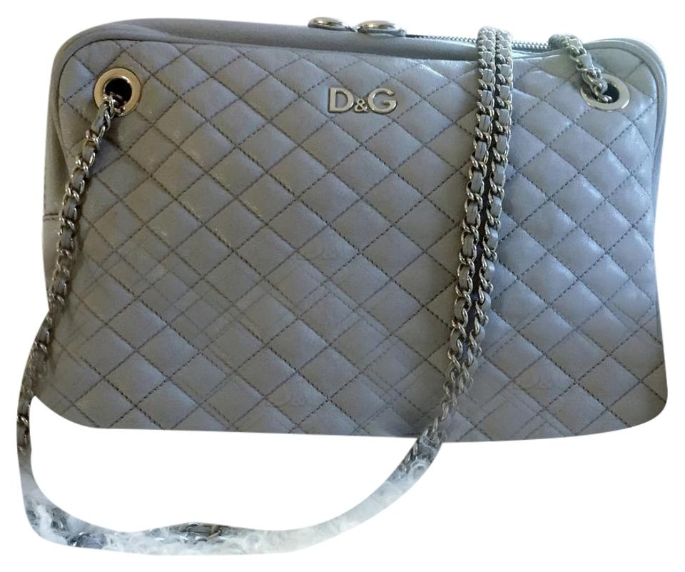 fffe254d7e2b Dolce Gabbana Lily Glam Dove Gray Lamp Leather Silver Chains ...