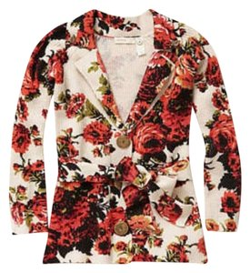 Anthropologie Floral Sleeping On Snow Cardigan