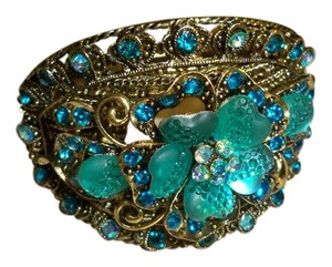 Amy's Treasure Box Vintage Bangles Bracelet with Turquoise Gemstones, Rhinestones