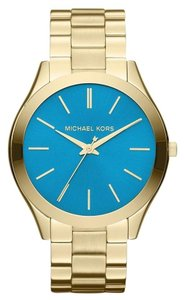 Michael Kors NWT MICHAEL KORS Slim Runway Gold with BLUE dial MK3265