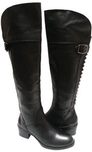 Vince Camuto Studded Accents Leather Riding Round Toe Buckle Accen Style 31735 Black Boots