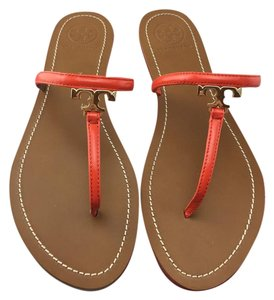 Tory Burch T Logo Leather Orange Sandals