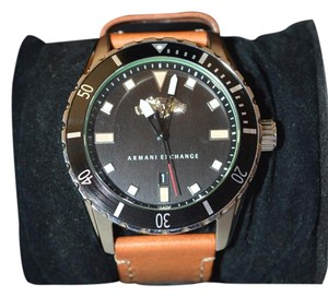 A|X Armani Exchange Black Dial with Tan Leather Band
