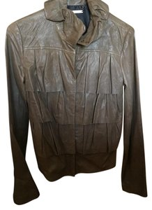 Diane von Furstenberg Olive Leather Jacket